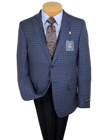 Image of HSM 29874 Boy's Sport Coat - Check - Medium Blue/Rust