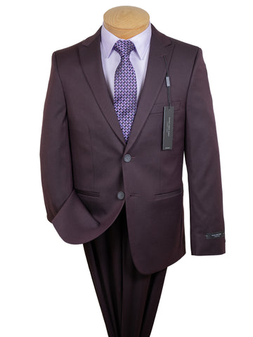 Andrew Marc 29975 Boy's Skinny Fit Suit - Twill - Burgundy