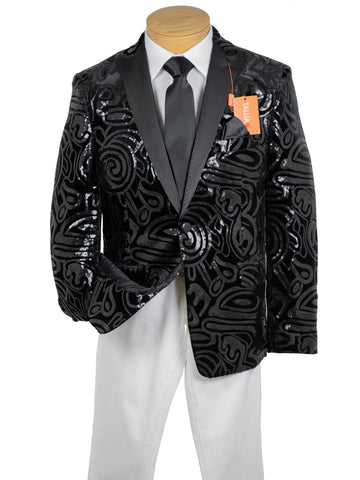 Image of Tallia 29982 Boy's Sport Coat - Sequined - Black