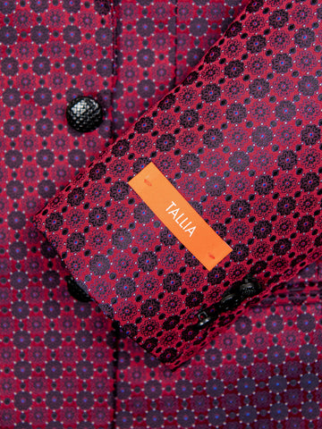 Tallia 29990 Boy's Sport Coat - Neat Pattern - Burgundy