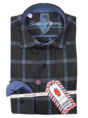 Luchiano Visconti Boy's Sport Shirt 30023 - Plaid - Black