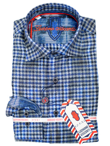 Luchiano Visconti Boy's Sport Shirt 30030 - Check - Blue