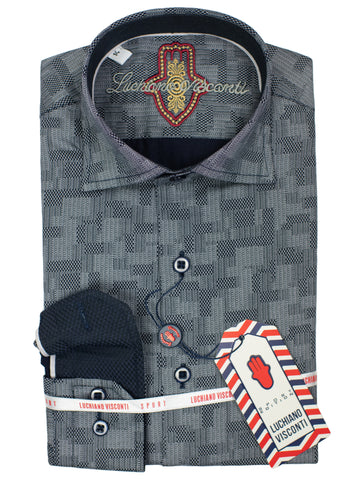 Luchiano Visconti Boy's Sport Shirt 30124 - Geo - Grey
