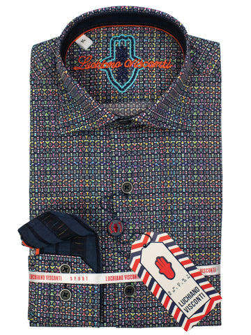 Luchiano Visconti Boy's Sport Shirt 30139 - Neat - Multi