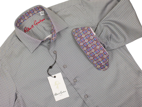 Robert Graham 30153 Boy's Sport Shirt -Geo - Grey