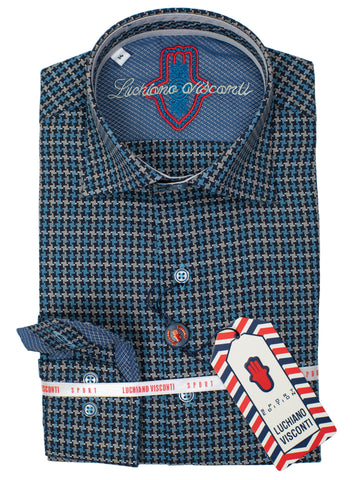 Luchiano Visconti Boy's Sport Shirt 30310- Houndstooth - Multi