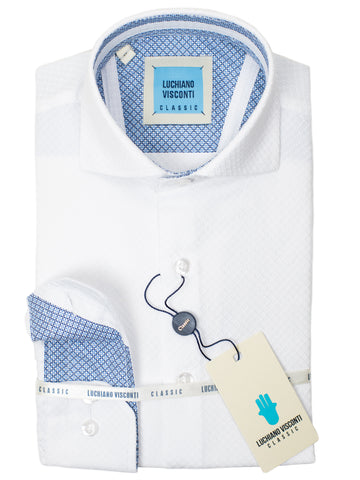 Luchiano Visconti Boy's Sport Shirt 30318- Tonal Diamond - White