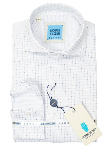 Luchiano Visconti Boy's Sport Shirt 30334- Grid -White