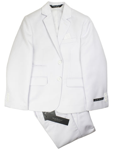 Leo & Zachary 30373 Boy's Skinny Fit Vested Suit - Solid - White