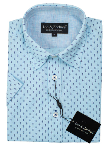 Leo & Zachary 30535 Boy's Short Sleeve Sport Shirt-Blue