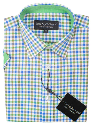 Leo & Zachary 30570 Boy's Short Sleeve Sport Shirt-Grass/Blue