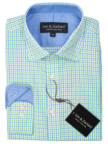 Leo & Zachary 30577 Boy's Sport Shirt- Plaid - Blue/Green