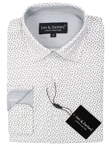 Leo & Zachary 30584 Boy's Sport Shirt- Teardrops - White/Grey
