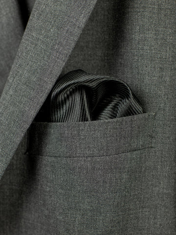 Heritage House Pocket Square 30745PS - Tonal Stripe - Black