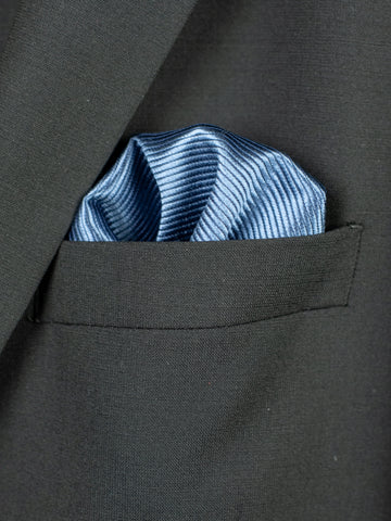 Heritage House Pocket Square 30764 - Tonal Stripe - River Blue