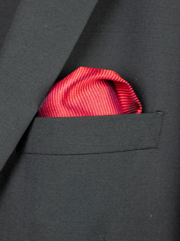 Heritage House Pocket Square 30766 - Tonal Stripe - Red