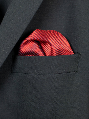 Heritage House Pocket Square 30767 - Tonal Stripe - Carmine