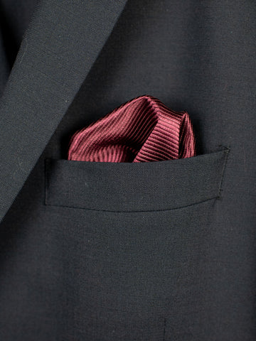 Heritage House Pocket Square 30768 - Tonal Stripe - Burgundy