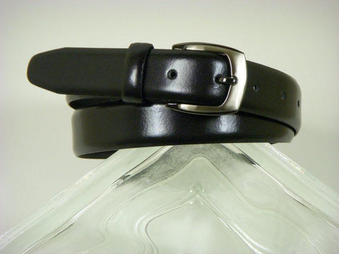 Paul Lawrence 3211 100% leather Boy's Belt - Glazed calf - Black, Silver Buckle Boys Belt Paul Lawrence