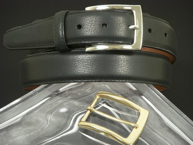Brighton 5080 100% leather Boy's Belt - Pebble grain - Black, Two Buckles, Silver and Gold Boys Belt Brighton