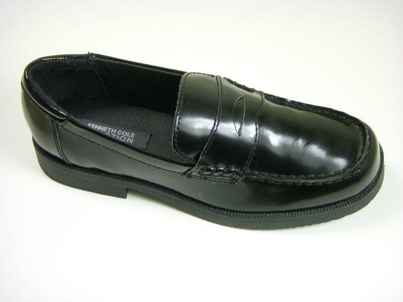 Reaction By Kenneth Cole 5229 Leather Boy's Shoe - Penny Loafer - Black Boys Shoes Kenneth Cole
