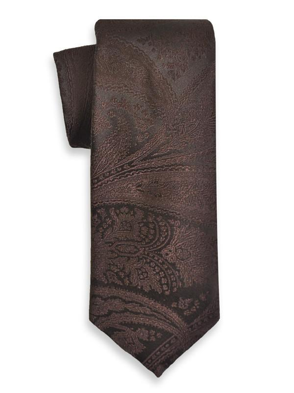 Heritage House 6623 100% Woven Silk Boy's Tie - Tonal Paisley - Chocolate Boys Tie Heritage House