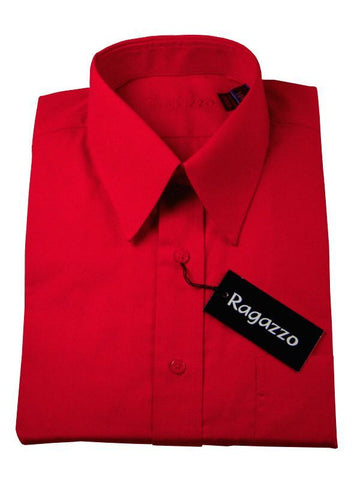 Ragazzo 7370 100% Cotton Boy's Dress Shirt - Solid Broadcloth - Scarlet Boys Dress Shirt Ragazzo