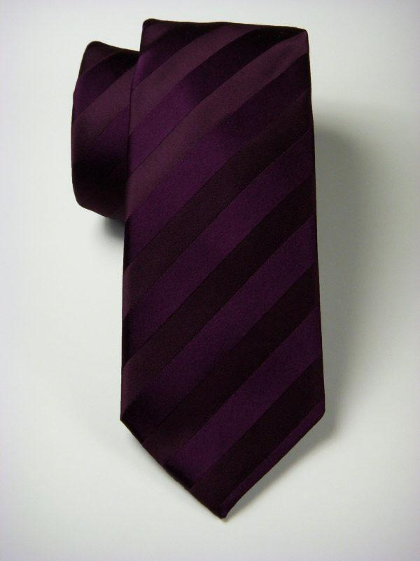 Heritage House 7557 100% Woven Silk Boy's Tie - Tonal Stripe - Plum(14) Boys Tie Heritage House