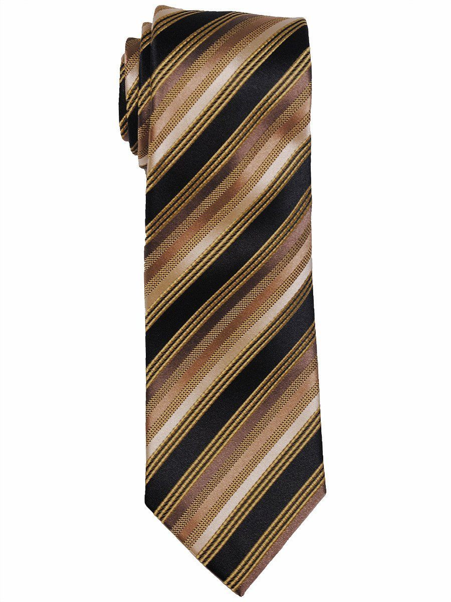 Heritage House 8036 100% Woven Silk Boy's Tie - Stripe - Gold/Black/Ecru Boys Tie Heritage House