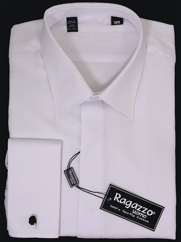 Ragazzo 8219 Boy's French Cuff Dress Shirt - White- Tonal Diagonal Weave- 100% Cotton Boys Dress Shirt Ragazzo