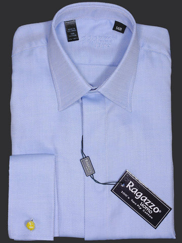 Ragazzo 8231 French Cuff Boy's Dress Shirt - Sky Blue - Tonal Diagonal Weave - 100% Cotton Boys Dress Shirt Ragazzo