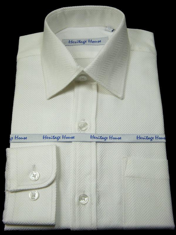 Boy's Dress Shirt 8383 White Herringbone Boys Dress Shirt Heritage House