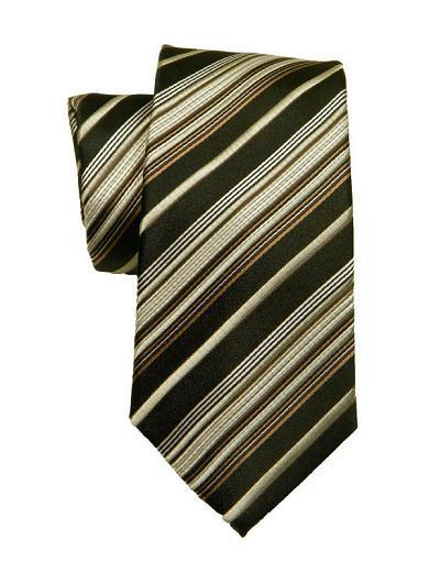 Heritage House 8704 Black/Khaki Boy's Tie - Stripe - 100% Woven Silk, Wool Blend Lining Boys Tie Heritage House