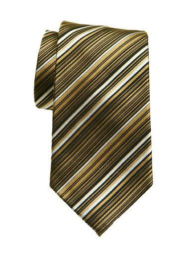 Heritage House 8711 Black/Gold/Tan Boy's Tie - Stripe - 100% Woven Silk, Wool Blend Lining Boys Tie Heritage House