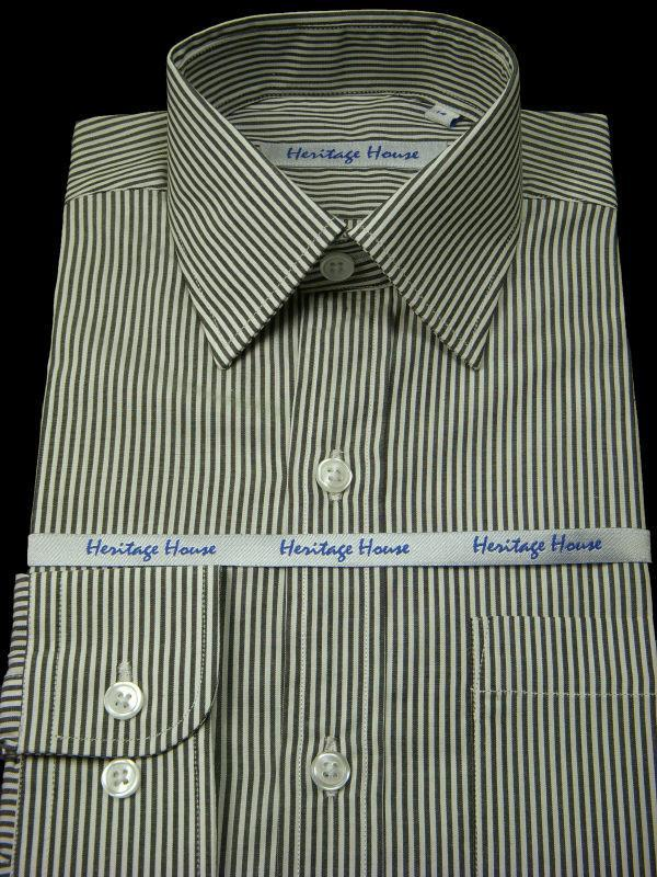 Boy's Dress Shirt 9009 Black/White Stripe Boys Dress Shirt Heritage House