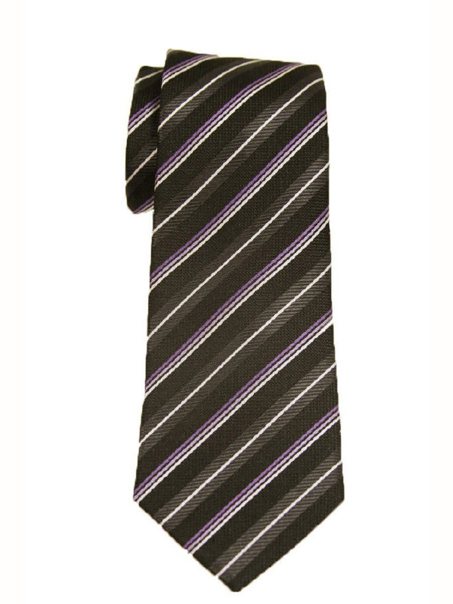 Heritage House 9230 Black/Purple Boy's Tie - Stripe - 100% Woven Silk, Wool Blend Lining Boys Tie Heritage House