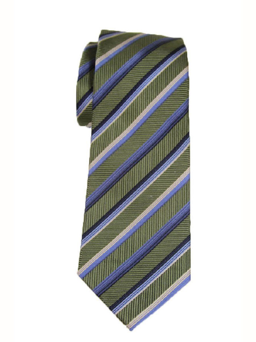 Heritage House 9237 Green/Blue Boy's Tie - Stripe - 100% Woven Silk, Wool Blend Lining Boys Tie Heritage House