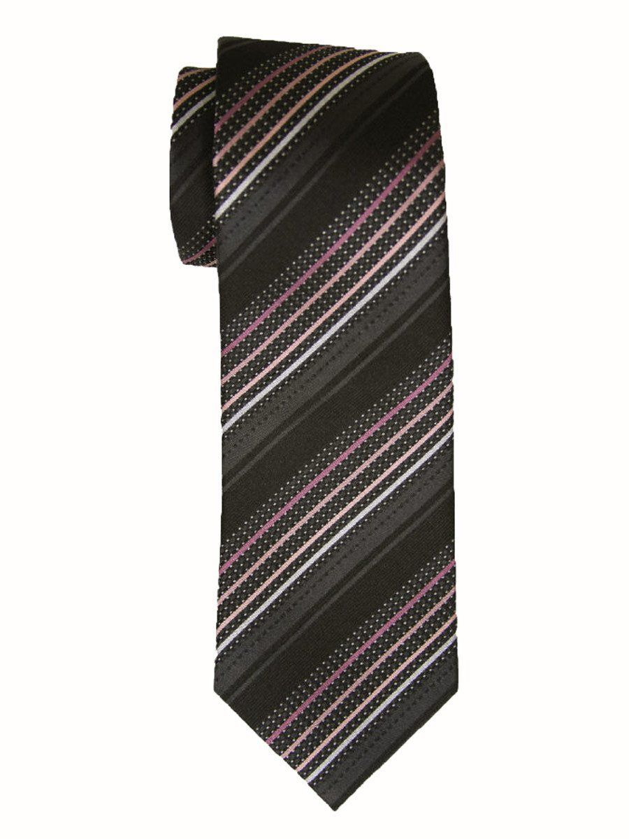 Heritage House 9239 Black/Pink Boy's Tie - Stripe - 100% Woven Silk, Wool Blend Lining Boys Tie Heritage House