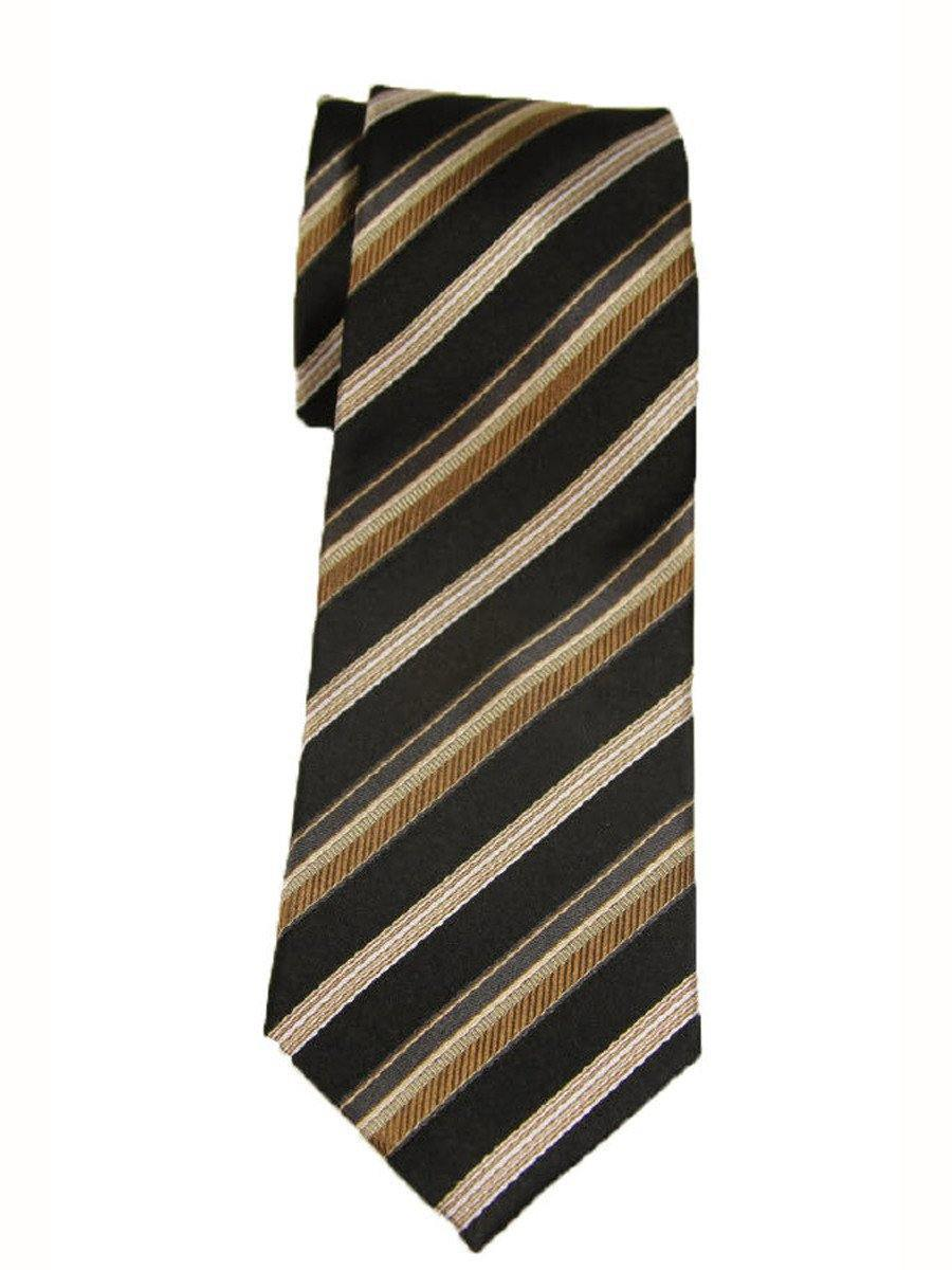 Heritage House 9247 Black/Khaki Boy's Tie - Stripe - 100% Woven Silk, Wool Blend Lining Boys Tie Heritage House