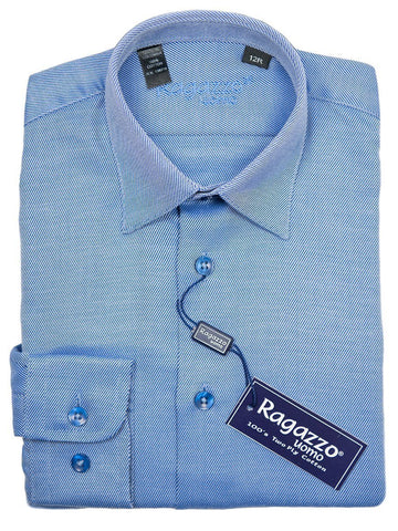 Ragazzo 9285 French Blue Boy's Dress Shirt - Tonal Diagonal Weave - 100% Cotton Boys Dress Shirt Ragazzo