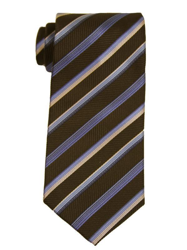 Heritage House 9885 Chocolate/Blue Boy's Tie - Stripe - 100% Woven Silk, Wool Blend Lining Boys Tie Heritage House