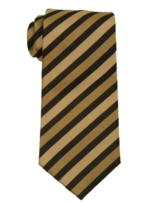 Heritage House 9890 Black/Khaki Boy's Tie - Stripe - 100% Woven Silk, Wool blend lining Boys Tie Heritage House