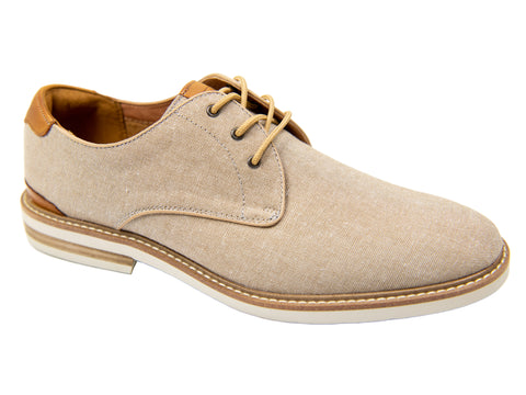Florsheim 30162 - Boy's Shoe - Plain Toe Oxford - Canvas - Sand