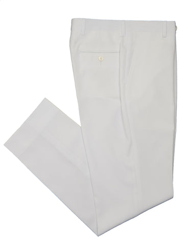 Lauren Ralph Lauren 19160P 100% Polyester Boy's Suit Separate Pant - Seersucker Tonal Stripe - White, Plain Front Boys Suit Separate Pant Lauren