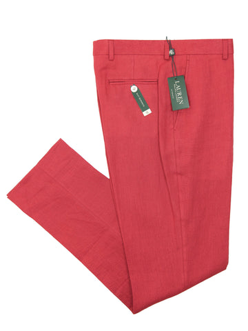 Lauren Ralph Lauren 26101P 100% Linen Boy's Suit Separate Pant - Solid - Red Boys Suit Separate Pant Lauren