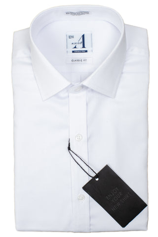 Alviso 30386 Boy's Dress Shirt - Slim Fit - Tonal Diamond Weave - White