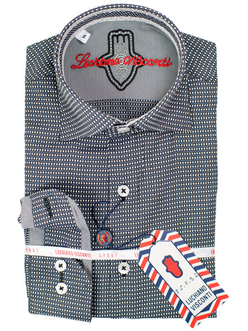Luchiano Visconti Boy's Sport Shirt 30600 - Neat - Black/White