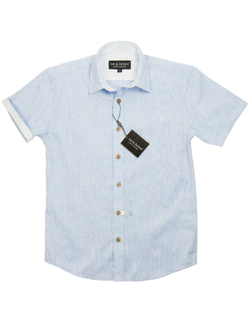 Leo & Zachary 28218 Boy's Short Sleeve Sport Shirt-Linen Look-Sky Blue Boys S/S Woven Leo & Zachary