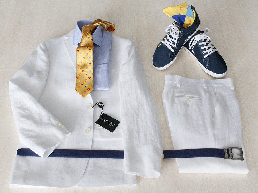 Complete White Linen Suit Outfit 22275 Boys Suit Bundle Lauren