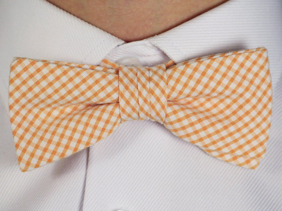 High Cotton 16599 Tangerine/White Bowtie - Gingham Check - 100% Cotton - Pre-Tied - Adjustable neck band Boys Bow Tie High Cotton